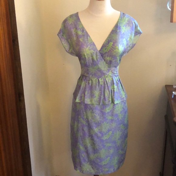 Nanette Lepore silk peplum dress size 2